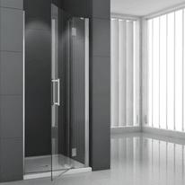 Porta doccia battente Modulo 110 cm, H 195 cm in vetro temprato, spessore 6 mm trasparente cromato