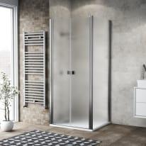 Porta doccia 80 x 80 cm, H 200 cm in vetro, spessore 6 mm spazzolato cromato