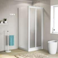 Porta doccia 80 x 80 cm, H 185 cm in acrilico, spessore 3 mm serigrafato e brinato bianco
