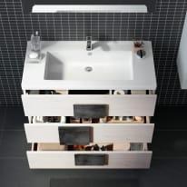 Mobile bagno Bark acero bianco L 105 cm