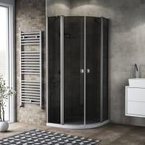 Box doccia semicircolare battente Neo 80 x 80 cm, H 201.7 cm in alluminio e vetro, spessore 6 mm fumé argento