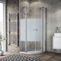 Box doccia semicircolare battente Neo 79.5 x 80 cm, H 201.7 cm in alluminio e vetro, spessore 6 mm serigrafato argento