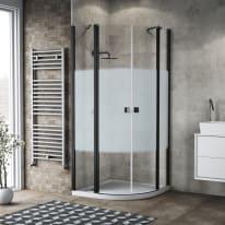 Box doccia semicircolare battente Neo 80 x 80 cm, H 201.7 cm in alluminio e vetro, spessore 6 mm serigrafato nero