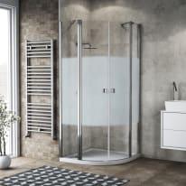 Box doccia semicircolare battente Neo 80 x 80 cm, H 201.7 cm in alluminio e vetro, spessore 6 mm serigrafato cromato