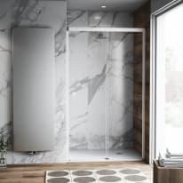 Porta doccia scorrevole Neo Plus 135 cm, H 200 cm in vetro temprato, spessore 8 mm trasparente bianco
