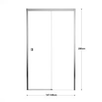 Porta doccia scorrevole Neo Plus 150 cm, H 200 cm in vetro temprato, spessore 8 mm trasparente cromato