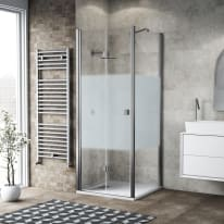 Box doccia pieghevole 90 x 80 cm, H 201.7 cm in vetro, spessore 6 mm serigrafato cromato