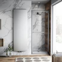 Porta doccia battente Namara 90 cm, H 195 cm in vetro temprato, spessore 8 mm trasparente argento