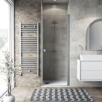 Porta doccia battente Neo 90 cm, H 201.7 cm in vetro temprato, spessore 6 mm trasparente argento