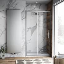 Porta doccia scorrevole Namara 170 cm, H 195 cm in vetro temprato, spessore 8 mm trasparente argento