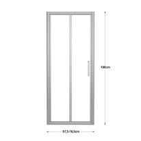 Porta doccia pieghevole Quad , H 190 cm in vetro, spessore 6 mm trasparente argento