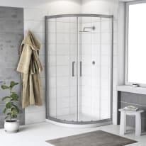 Box doccia scorrevole Quad 80 x 80 cm, H 190 cm in alluminio e vetro, spessore 6 mm trasparente argento