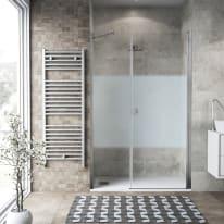 Box doccia battente 140 x 80 cm, H 200 cm in vetro, spessore 6 mm serigrafato cromato