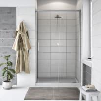 Porta doccia scorrevole Remix 140 cm, H 195 cm in vetro, spessore 6 mm trasparente argento