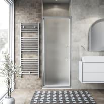Porta doccia battente Record 85 cm, H 195 cm in vetro temprato, spessore 6 mm acrilico piumato argento