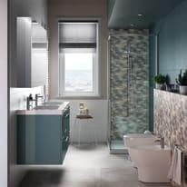 Porta doccia scorrevole Remix 100 cm, H 195 cm in vetro, spessore 6 mm trasparente argento