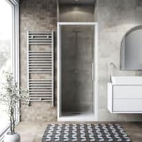 Porta doccia battente Record 95 cm, H 195 cm in vetro temprato, spessore 6 mm trasparente bianco