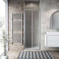 Porta doccia battente Record 90 cm, H 195 cm in vetro temprato, spessore 6 mm acrilico piumato argento
