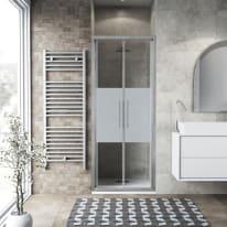 Porta doccia battente Record 90 cm, H 195 cm in vetro temprato, spessore 6 mm serigrafato argento