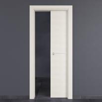 Porta scorrevole a scomparsa Hollow bianco matrix L 80 x H 210 cm reversibile