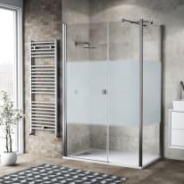 Box doccia battente 110 x 80 cm, H 200 cm in vetro, spessore 6 mm serigrafato cromato
