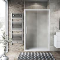 Porta doccia scorrevole Record 140 cm, H 195 cm in vetro temprato, spessore 6 mm acrilico piumato bianco