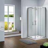 Box doccia quadrato scorrevole Quad 90 x 90 cm, H 195 cm in vetro, spessore 6 mm trasparente argento