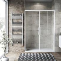 Porta doccia scorrevole Record 175 cm, H 195 cm in vetro temprato, spessore 6 mm trasparente bianco
