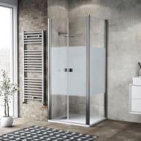 Porta doccia 150 x 80 cm, H 200 cm in vetro, spessore 6 mm serigrafato cromato