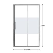 Porta doccia scorrevole Record 140 cm, H 195 cm in vetro temprato, spessore 6 mm serigrafato argento