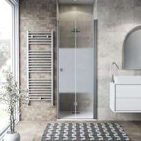 Porta doccia pieghevole Neo 76 cm, H 201.7 cm in vetro temprato, spessore 6 mm serigrafato argento