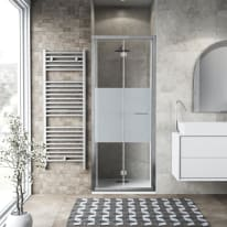 Porta doccia pieghevole Record 90 cm, H 195 cm in vetro temprato, spessore 6 mm serigrafato argento