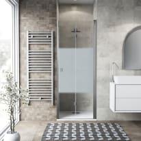 Porta doccia pieghevole Neo 71 cm, H 201.7 cm in vetro temprato, spessore 6 mm serigrafato cromato