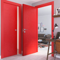 Porta a battente Flower Red rosso L 70 x H 210 cm sinistra