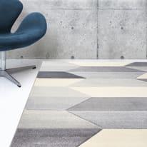 Tappeto Carve Geometric grigio chiaro e beige 120x60 cm