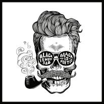 Quadro su tela Hipster Skull 65x65 cm