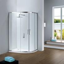 Box doccia semicircolare scorrevole 80 x 100 cm, H 195 cm in vetro temprato, spessore 6 mm trasparente argento
