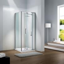 Porta doccia battente Slimline 85 cm, H 195 cm in vetro temprato, spessore 6 mm trasparente argento