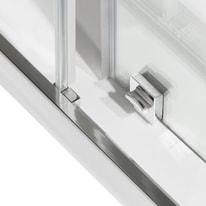 Porta doccia scorrevole Record 160 cm, H 195 cm in vetro temprato, spessore 6 mm acrilico piumato argento