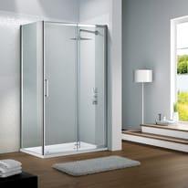 Porta doccia scorrevole Slimline 135 cm, H 195 cm in vetro temprato, spessore 6 mm trasparente argento