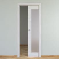 Porta scorrevole a scomparsa Pigalle Vetrata palissandro bianco L 70 x H 210 cm reversibile