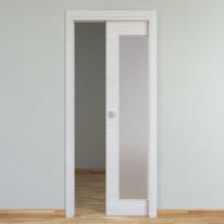 Porta scorrevole a scomparsa Pigalle Vetrata palissandro bianco L 80 x H 210 cm reversibile