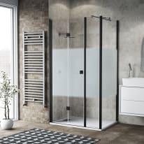 Box doccia pieghevole 110 x 80 cm, H 201.7 cm in vetro, spessore 6 mm serigrafato nero
