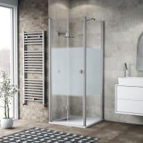 Box doccia pieghevole 70 x 80 cm, H 201.7 cm in vetro, spessore 6 mm serigrafato bianco