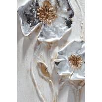 Quadro dipinto a mano Fiori Metallici 90x30 cm