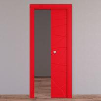 Porta scorrevole a scomparsa Wind Red rosso L 80 x H 210 cm reversibile