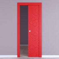 Porta scorrevole a scomparsa Flower Red rosso L 80 x H 210 cm reversibile