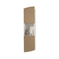 Pensile Soft 2 ante L 24 x P 18 x H 100 cm struttura lucido bianco e frontali visone laccato