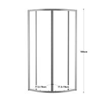 Box doccia scorrevole 80 x 80 cm, H 185 cm in alluminio e vetro, spessore 4 mm granigliato argento