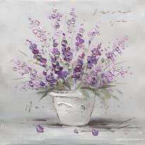 Quadro dipinto a mano Vaso Fiori Viola 30x30 cm